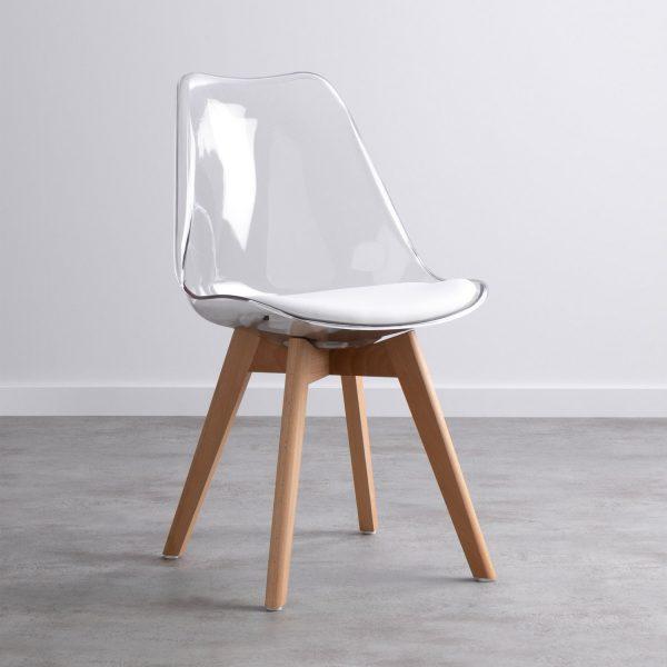 chaise scandinave transparente avec coussin